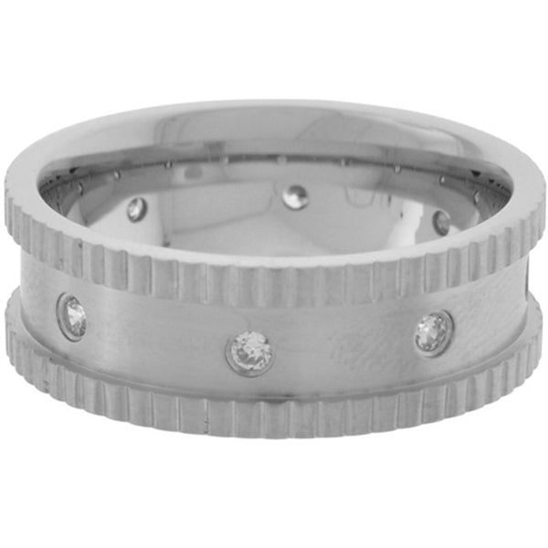 Inox Jewelry Men's Hammered Edge CZ 316L Stainless Steel Ring