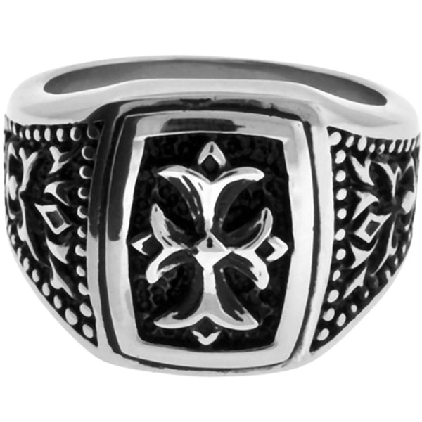 Inox Jewelry Men's Raised Gothic Scroll Cross 316L Stainless Steel Ring