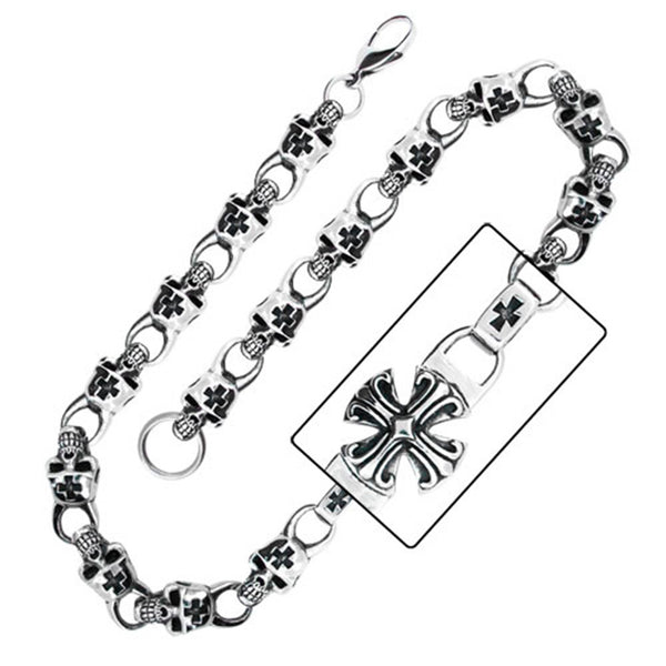 24 Inches - Inox Jewelry Men's Greek Cross 316L Stainless Steel Necklace