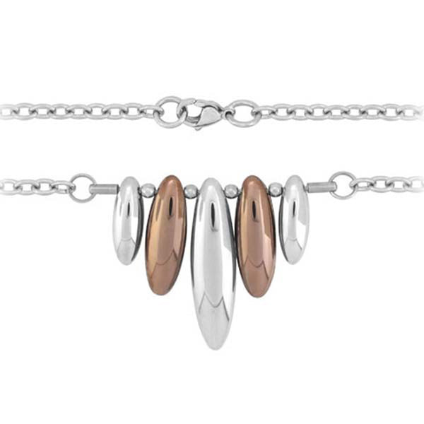 19 Inches - Inox Jewelry Women's Cappuccino Oval Dangles 316L Stainless Steel Necklace