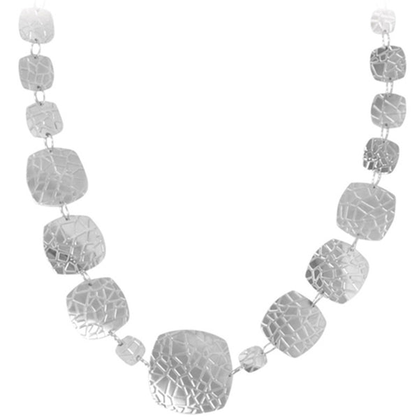 34 Inches - Inox Jewelry Women's 316L Stainless Steel Cracked Flt Links Necklace