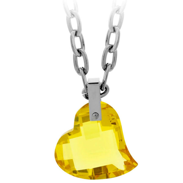 20 Inches - Inox Jewelry Women's 316L Stainless Steel Yellow Faceted Glass Heart Necklace