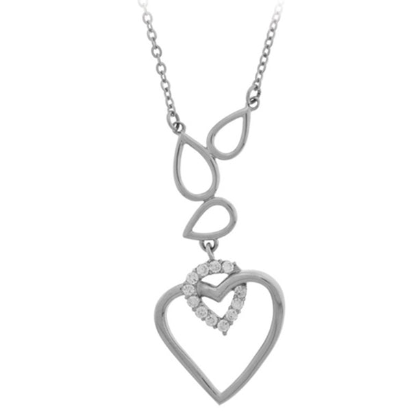 18 Inches - Inox Jewelry Women's 316L Stainless Steel CZ interlocking Heart Necklace