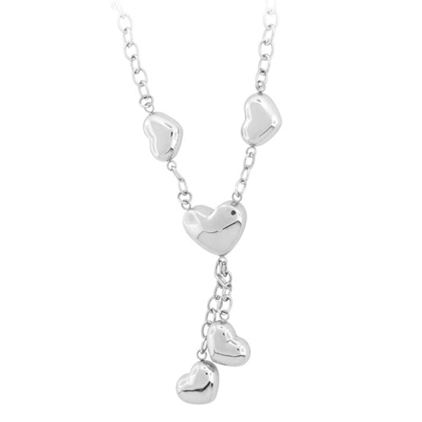 20 Inches - Inox Jewelry Women's Smooth Puffy Heart 316L Stainless Steel Necklace