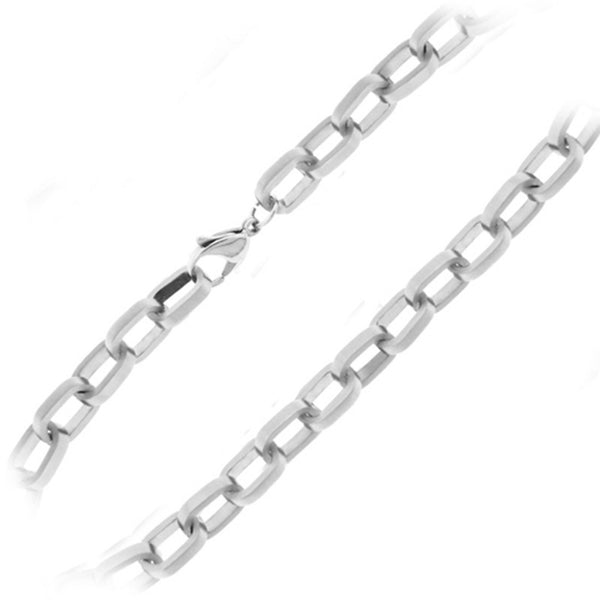 22 Inches - Inox Jewelry Men's 316L Stainless Steel Cuban Chain Necklace