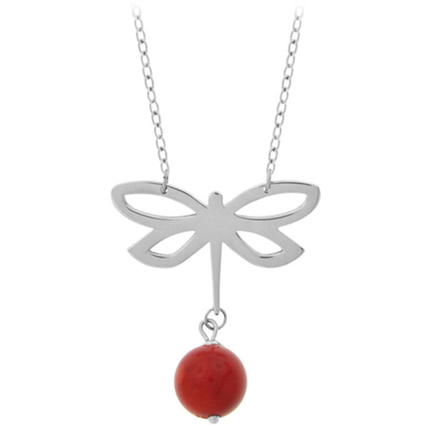 18 Inches - Inox Jewelry Women's Butterfly Coral Bead 316L Stainless Steel Necklace