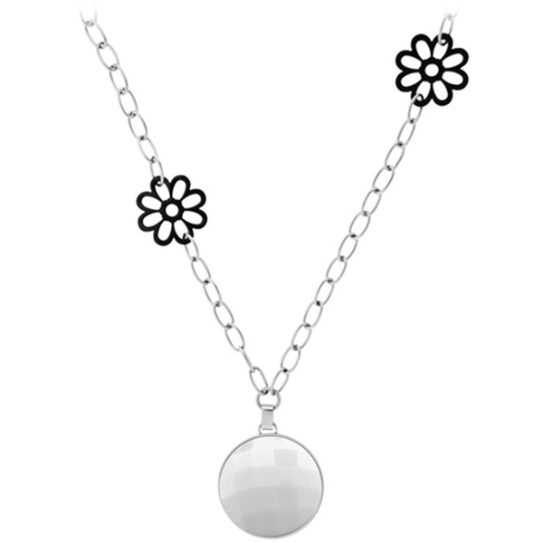 26 Inches - Inox Jewelry Women's Large White Onyx 316L Stainless Steel Flower Necklace