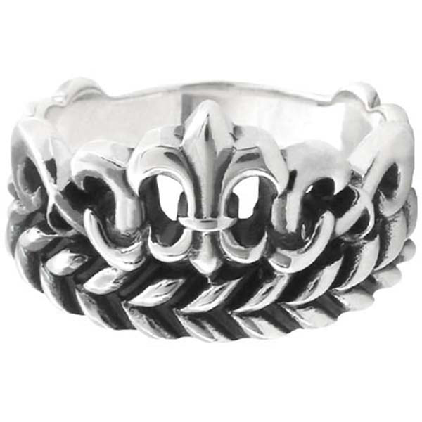 Inox Jewelry  Fleur De Lis .925 Sterling Silver Ring