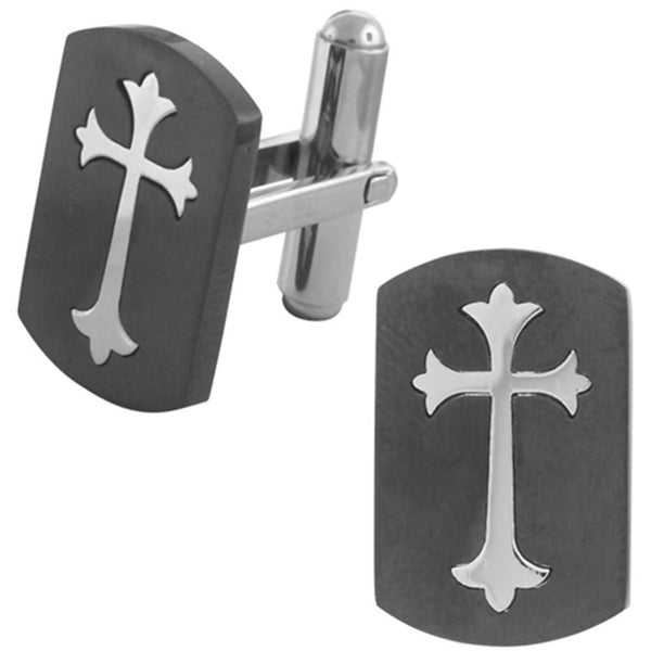 Inox Jewelry Black Plated Gothic Cross 316L Stainless Steel Cufflinks