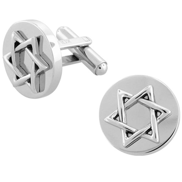 Inox Jewelry Star of David 316L Stainless Steel Cufflinks