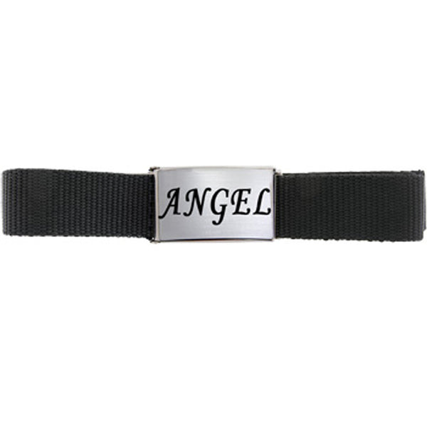 Silver Matte Finish ANGEL BELT BUCKLE with Black Web Belt