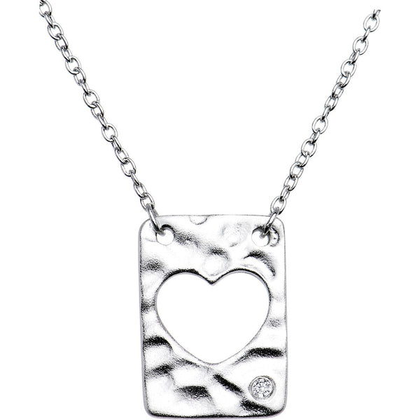 Sterling Silver .015pt Diamond Heart Necklace