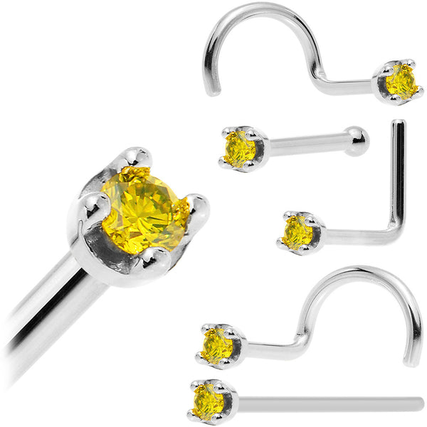 Solid 14KT White Gold (November) 1.5mm Genuine Yellow Diamond Nose Ring