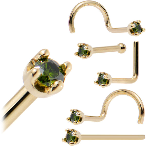 Solid 14KT Yellow Gold (May) 1.5mm Genuine Green Diamond Nose Ring