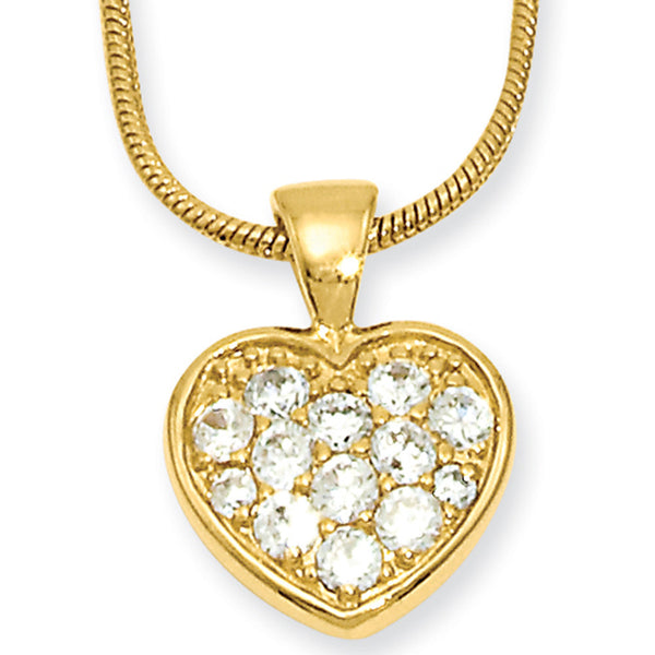 18 Inch Gold Plated Heart CZ Necklace by Kelly Waters