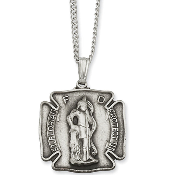 24 Inch Rhodium Plated St. Florian Medal Necklace by Kelly Waters