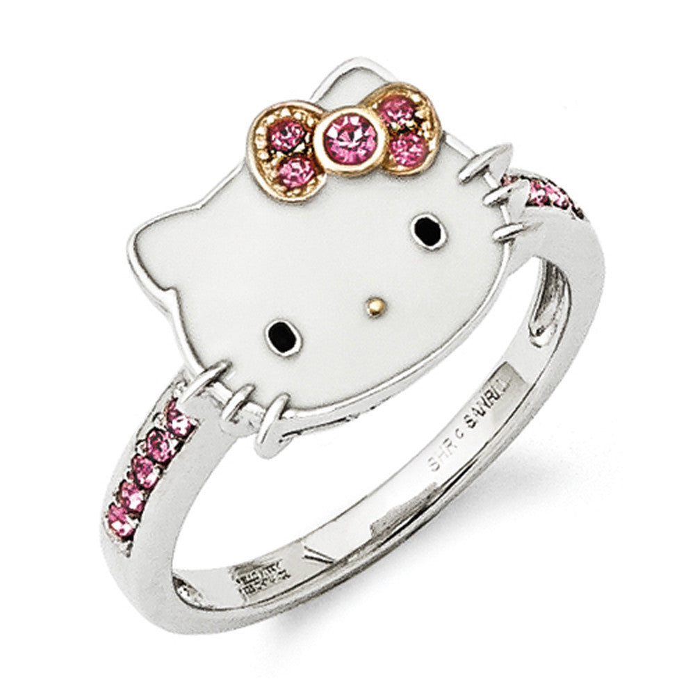 3fa93ade4 Size 8 Sterling Silver Gold Plated Hello Kitty Ring with Pink Crystals –  BodyCandy