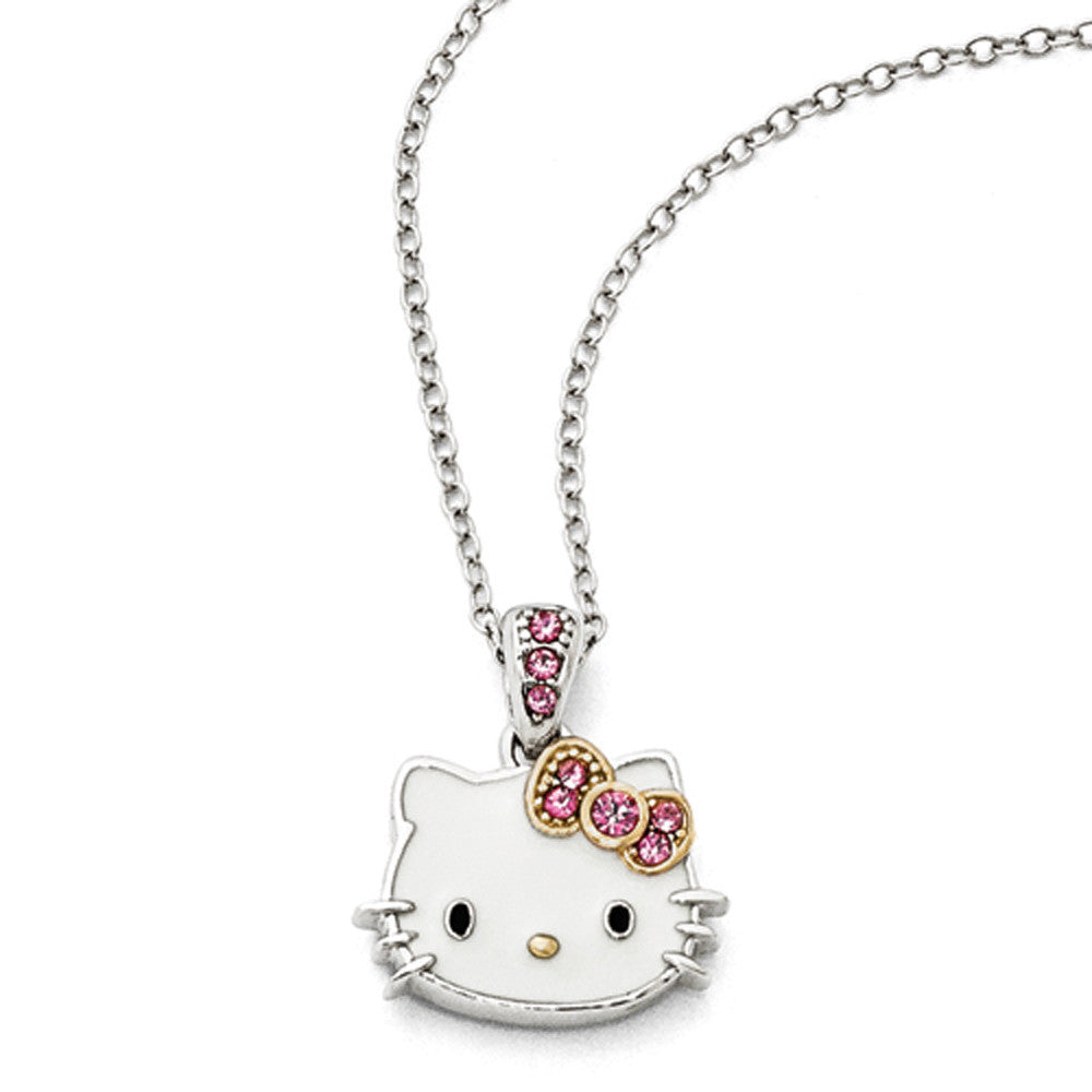 fbd36852f Sterling Silver Enameled Gold Plated Sparkle Hello Kitty Necklace –  BodyCandy