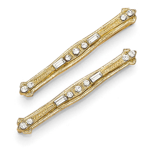 Gold Tone Downton Abbey White Crystal Modern Clip Hairpin Set
