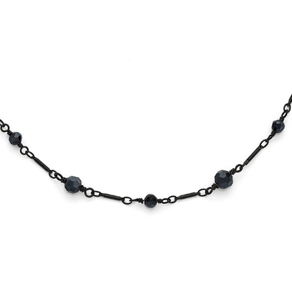 Black Plated Downton Abbey Black Beaded Opera Necklace