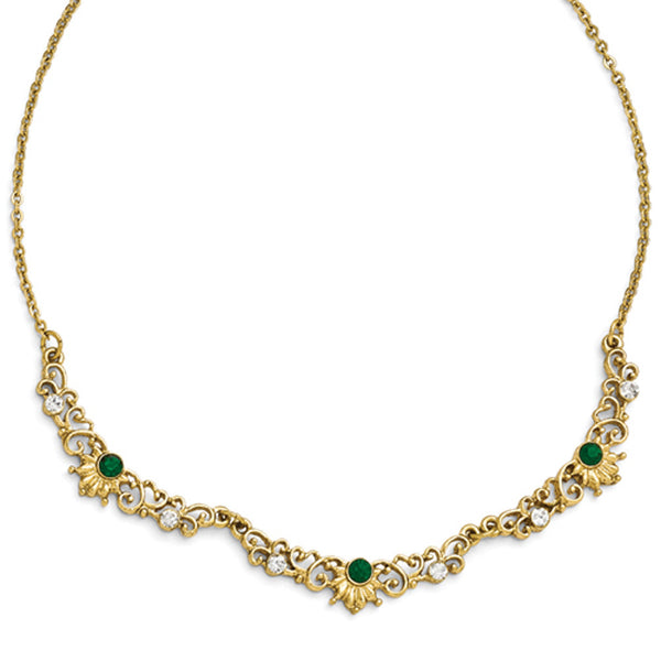 Gold Tone Downton Abbey Emerald Green Imperial Necklace