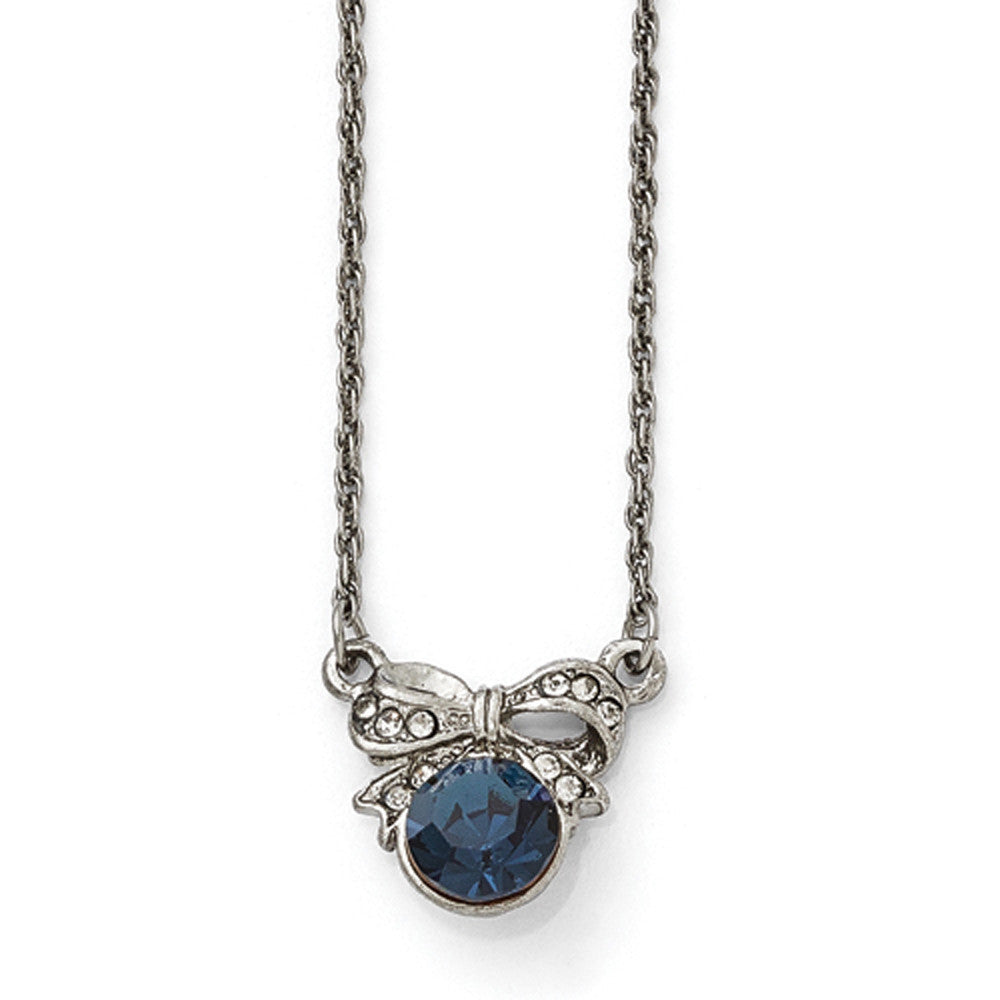 Silver Tone Downton Abbey Blue Stone Bow Necklace