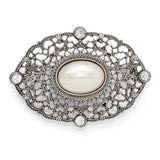 Silver Tone Downton Abbey Large Pearl and White Crystal Fashion Pin