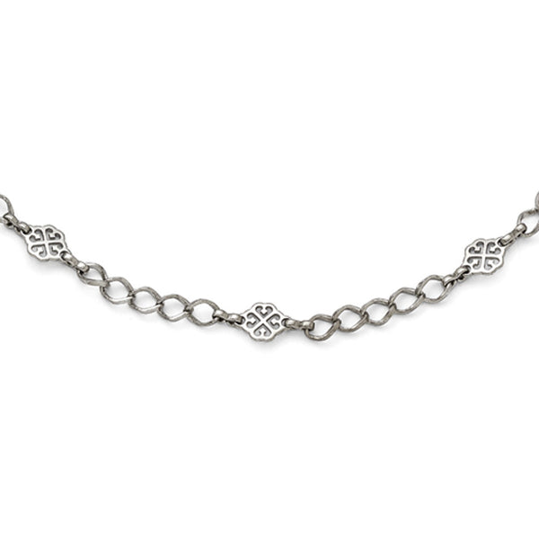 Silver Tone Downton Abbey Wide Link Flower Opera Necklace