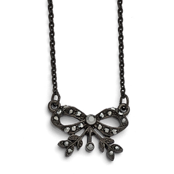 Black Plated Downton Abbey Ribboned Bow Tie Gem Necklace
