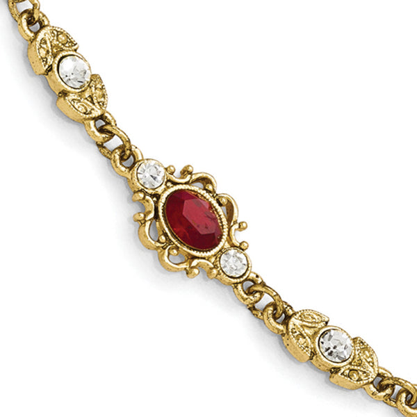 Gold Tone Downton Abbey Imperial Red Crystal Toggle Bracelet