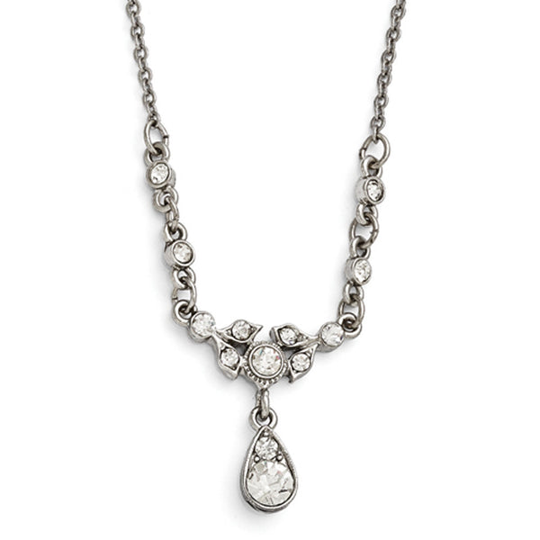 Silver Tone Downton Abbey White Crystal Teardrop Necklace