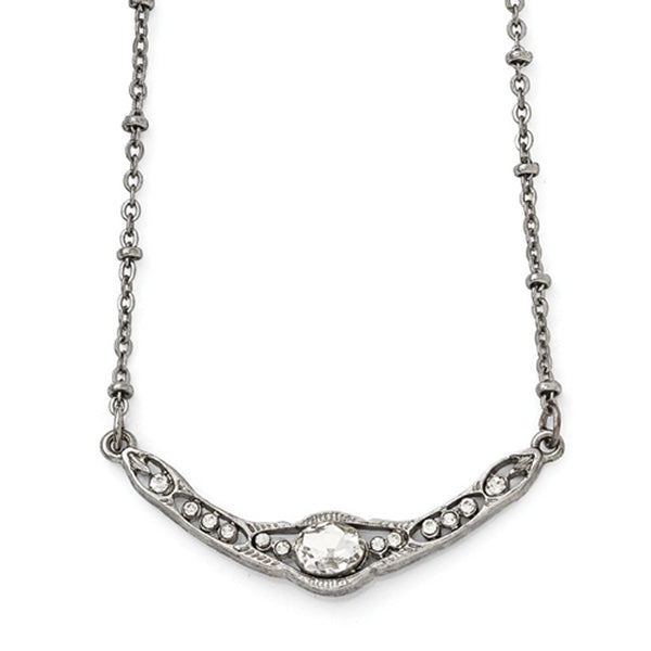 Silver Tone Downton Abbey White Glittering Torque Fashion Necklace