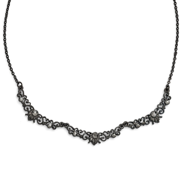 Black Plated Downton Abbey Imperial Scalloped Necklace