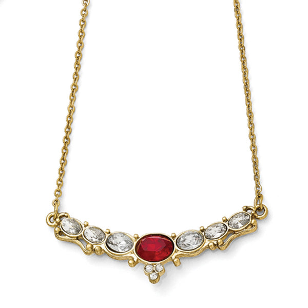 Gold Tone Downton Abbey Imperial Red and White Crescent Necklace