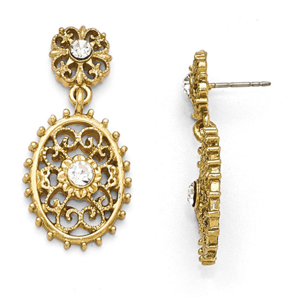 Gold Tone Downton Abbey Studded Oval Dangle Earrings