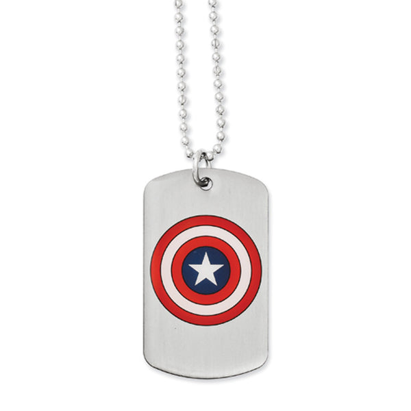Captain America Shield Dog Tag Necklace