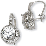 Sterling Silver Round Cubic Zirconia French Wire Earrings by Cheryl M