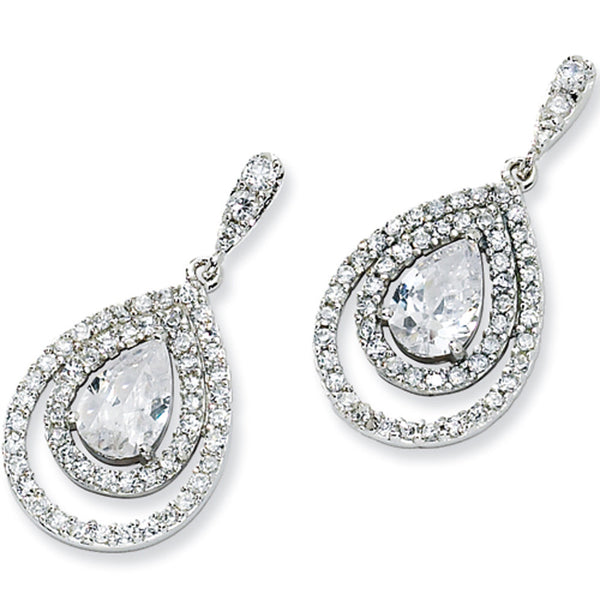 Sterling Silver Cubic Zirconia Triple Teardrop Earrings by Cheryl M