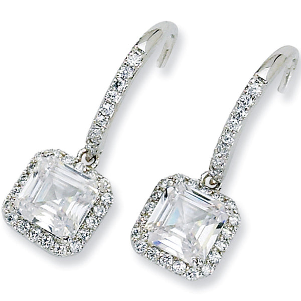Sterling Silver Square Cubic Zirconia Dangle Earrings by Cheryl M