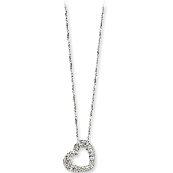 Sterling Silver Cubic Zirconia Heart Pendant Necklace by Cheryl M