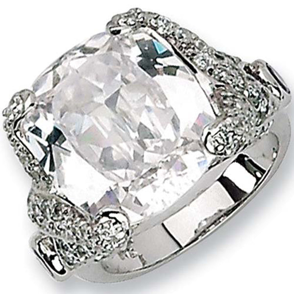 Sterling Silver Imperial Square Cubic Zirconia Ring by Cheryl M