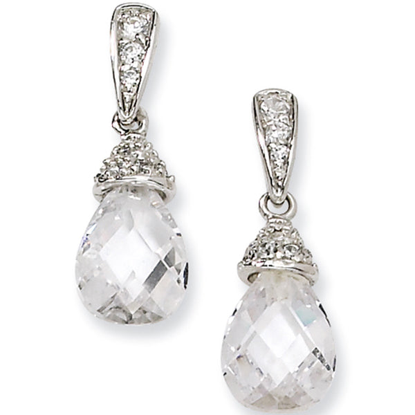 Sterling Silver Teardrop Cubic Zirconia Post Dangle Earrings by Cheryl M