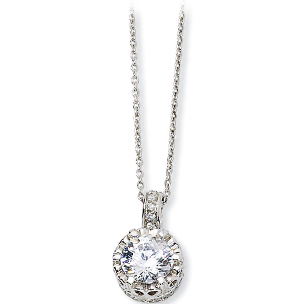 Sterling Silver 100-Facet Cubic Zirconia Pendant Necklace by Cheryl M