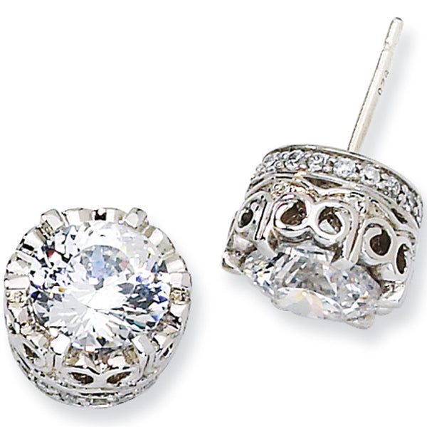 Sterling Silver 100-Facet Cubic Zirconia Post Earrings by Cheryl M