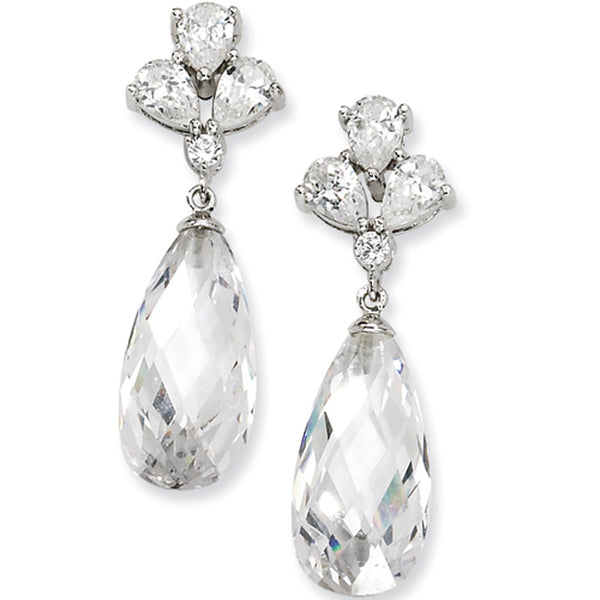Sterling Silver Empress Cubic Zirconia Teardrop Post Dangle Earrings by Cheryl M