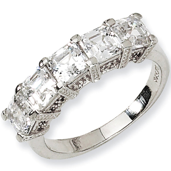 Sterling Silver Asscher Cut Five Stone Cubic Zirconia Ring by Cheryl M