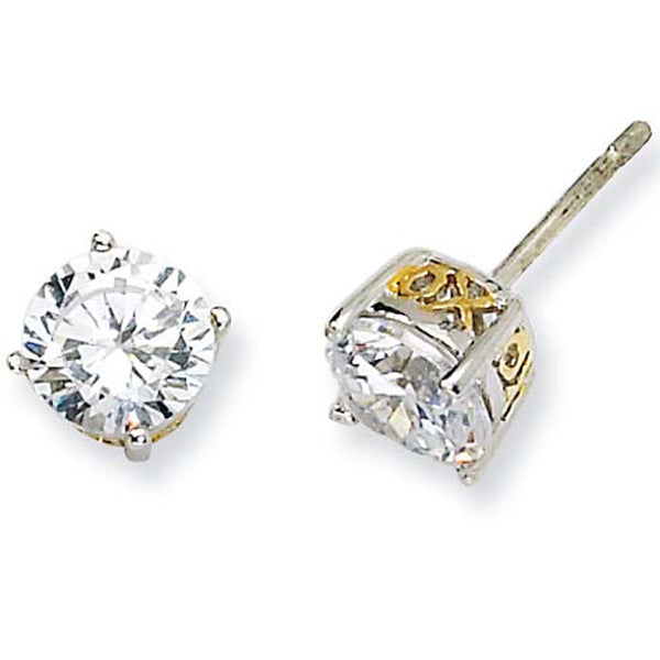 Sterling Silver Cubic Zirconia Gold Plated XO Post Earrings by Cheryl M