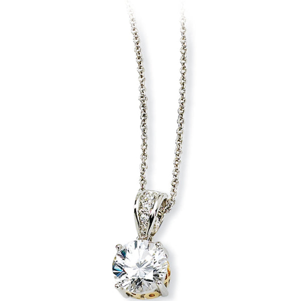 Sterling Silver Cubic Zirconia Gold Plated XO Necklace by Cheryl M