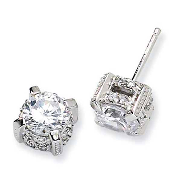 Sterling Silver Regal Cubic Zirconia Post Earrings by Cheryl M