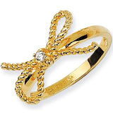 Sterling Silver Gold Plated Cubic Zirconia Bow Ring by Cheryl M